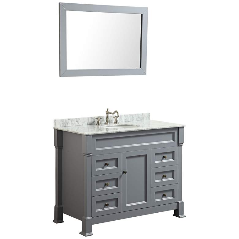 "Bosconi Slate Gray Marble 43 1/4"" Single-Sink Vanity Set"