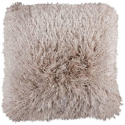 """Dallas Beige 20"""" Square Decorative Shag Pillow"""