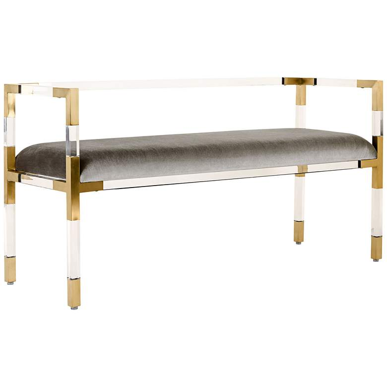 "Anastasia 50"" Wide Brass and Acrylic Modern Bench"
