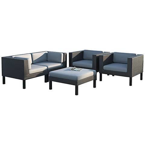Oakland Black Wicker 5-Piece Outdoor Seating Patio Set