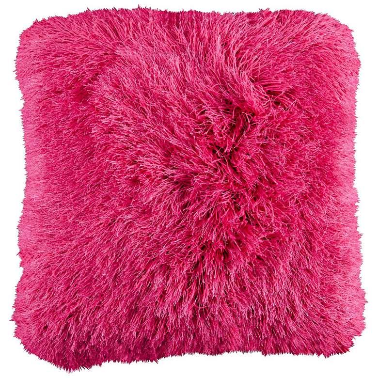 """Dallas Fuchsia Pink 20"""" Square Decorative Shag Pillow"""
