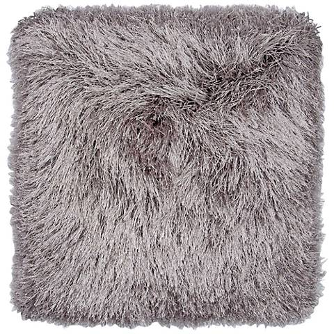 """Dallas Gray 20"""" Square Decorative Shag Pillow"""