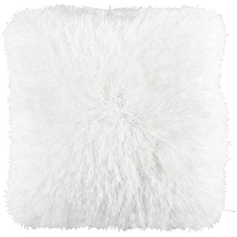 "Dallas White 20"" Square Decorative Shag Pillow"