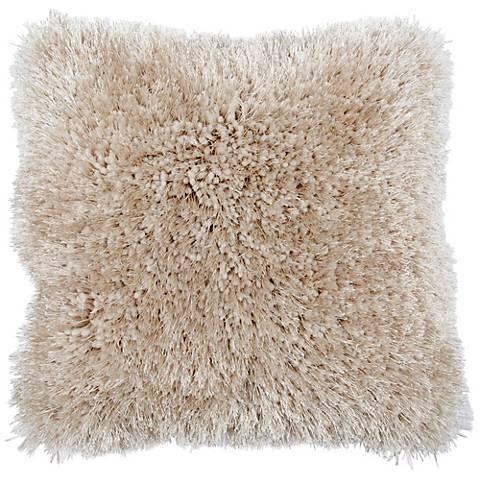"Duran.B Beige 20"" Square Decorative Shag Pillow"