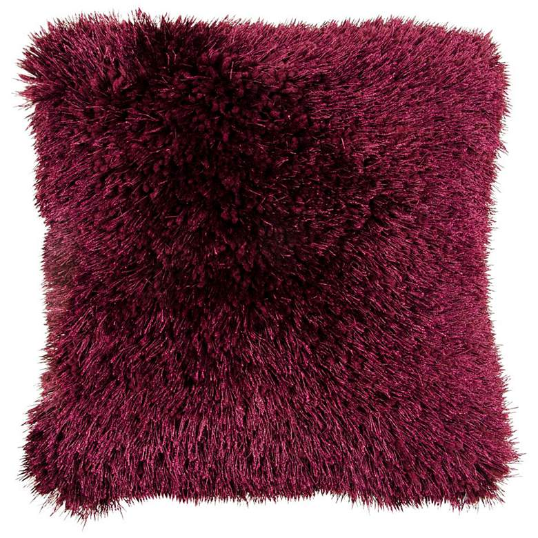 "Duran Plum 20"" Square Decorative Shag Pillow"