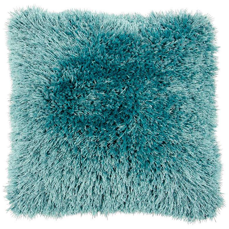 "Duran Turquoise Blue 20"" Square Decorative Shag Pillow"