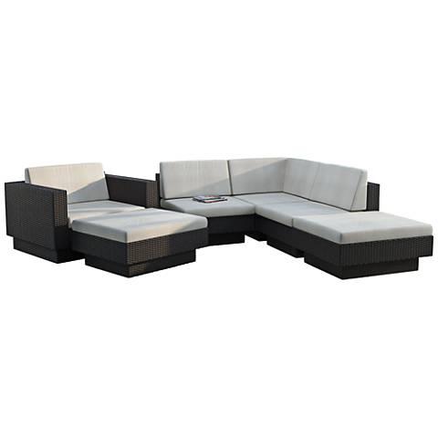 Park Terrace Black Weave 6-Piece Modular Patio Seating Set