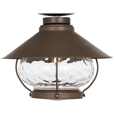 Lantern style oil rubbed bronze outdoor fan light kit for Early american outdoor lighting