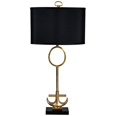 Anchored Gold Leaf Metal and Marble Table Lamp