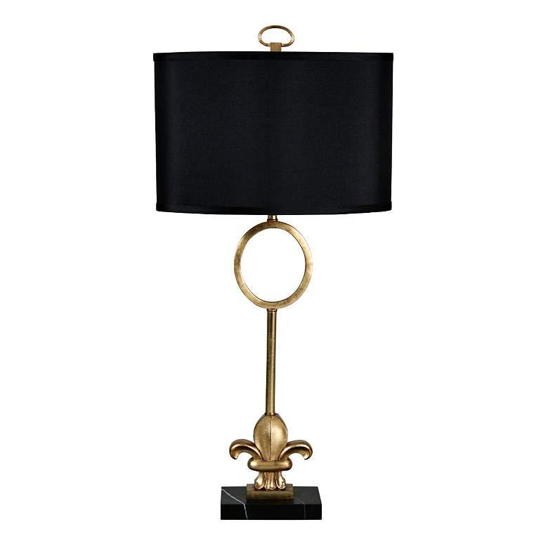 Fleur-de-Lis Gold Leaf Metal and Marble Table Lamp