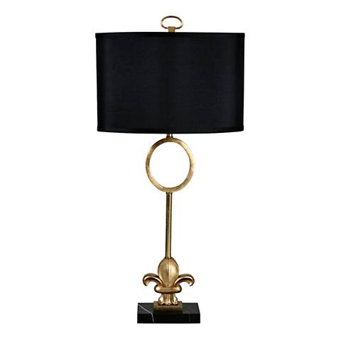 Fleur-de-Lis Gold Leaf Metal and Marble Table Lamp
