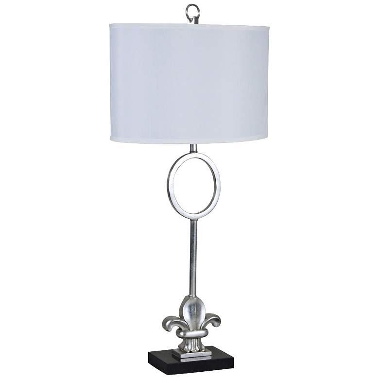 Fleur-de-Lis Silver Leaf Metal and Marble Table Lamp