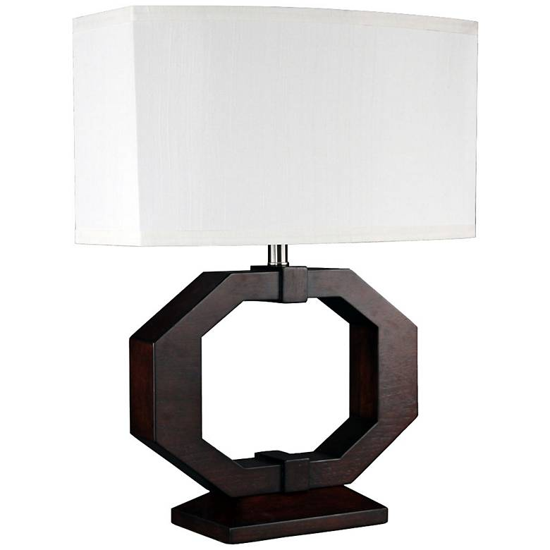 Gateway Dark Brown Stained Wood Hexagon Table Lamp
