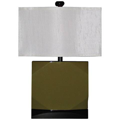 Faceted Olive Green and Black Modern Table Lamp