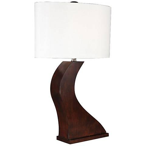 Wavy Dark Brown Wood Table Lamp