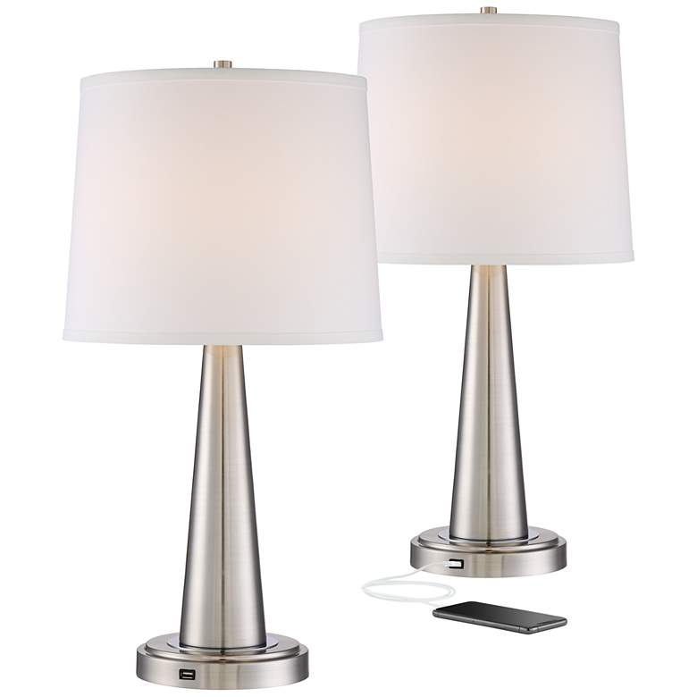 Karla Brushed Nickel USB Table Lamp Set of 2