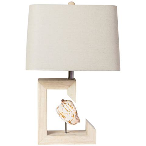 Couture Siesta Shell Natural Rubberwood Table Lamp