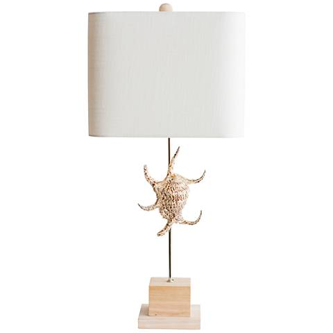 Couture Captiva Natural Shell and Rubberwood Table Lamp