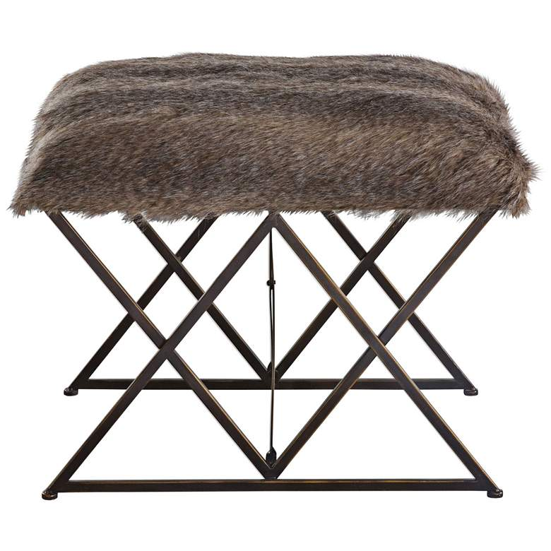 Uttermost Brannen Brown Faux Fur Small Argyle Iron Bench