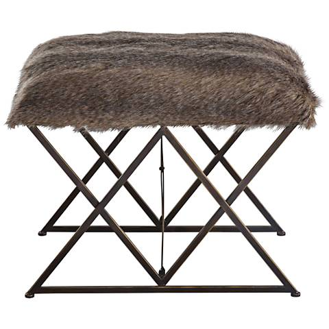 Uttermost Brannen Brown Faux Fur Small Argyle Iron Bench