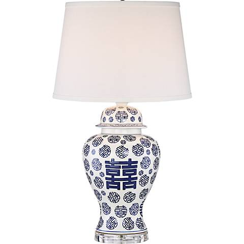 Felicity Blue and White Double Happiness Table Lamp