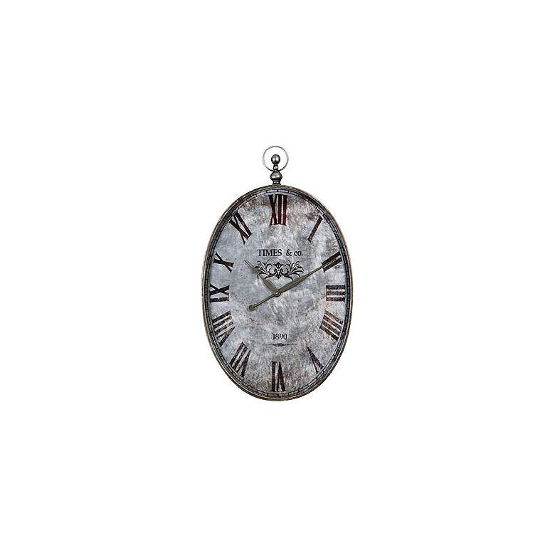 """Uttermost Argento 35"""" High Antiqued Metal Wall Clock"""