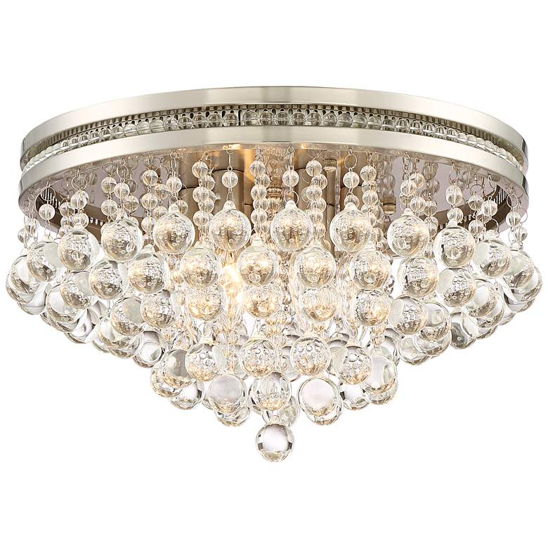 "Regina Brushed Nickel 15 1/4"" Wide Crystal Ceiling Light"
