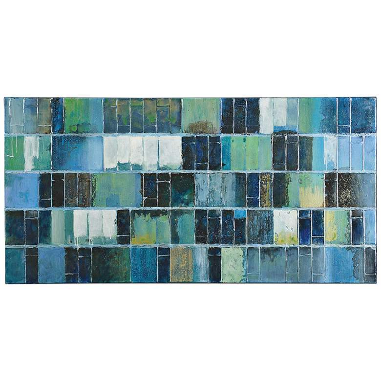 """Uttermost Glass Tiles 60"""" Wide Abstract Canvas Wall Art"""