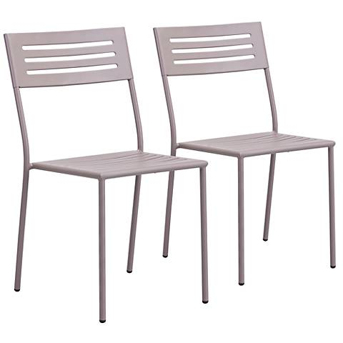 Zuo Wald Electro Taupe Outdoor Dining Chair Set of 2