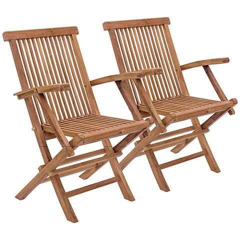 Zuo Regatta Natural Wood Outdoor Folding Armchair Set of 2