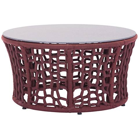 Faye Bay Beach Granite Top Cranberry Outdoor Coffee Table