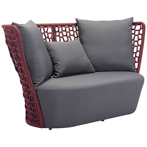 Zuo Faye Bay Beach Cranberry and Gray Outdoor Sofa