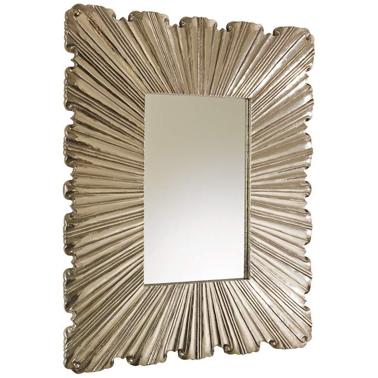 "Global Views Linen Fold Silver 31 1/2"" x 39 1/4"" Wall Mirror"
