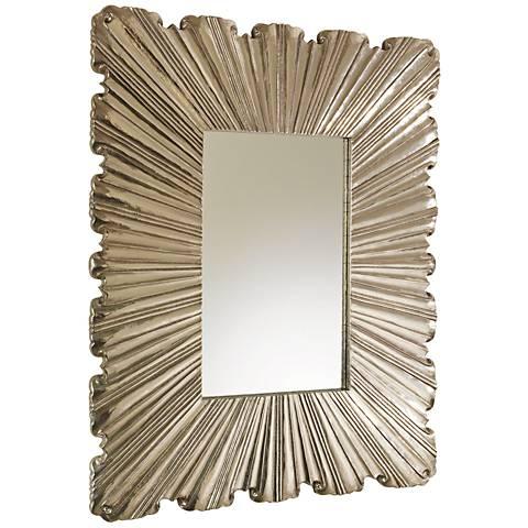 "Global Views Linen Fold Silver 31 1/2"" x 39 1/4"" Mirror"