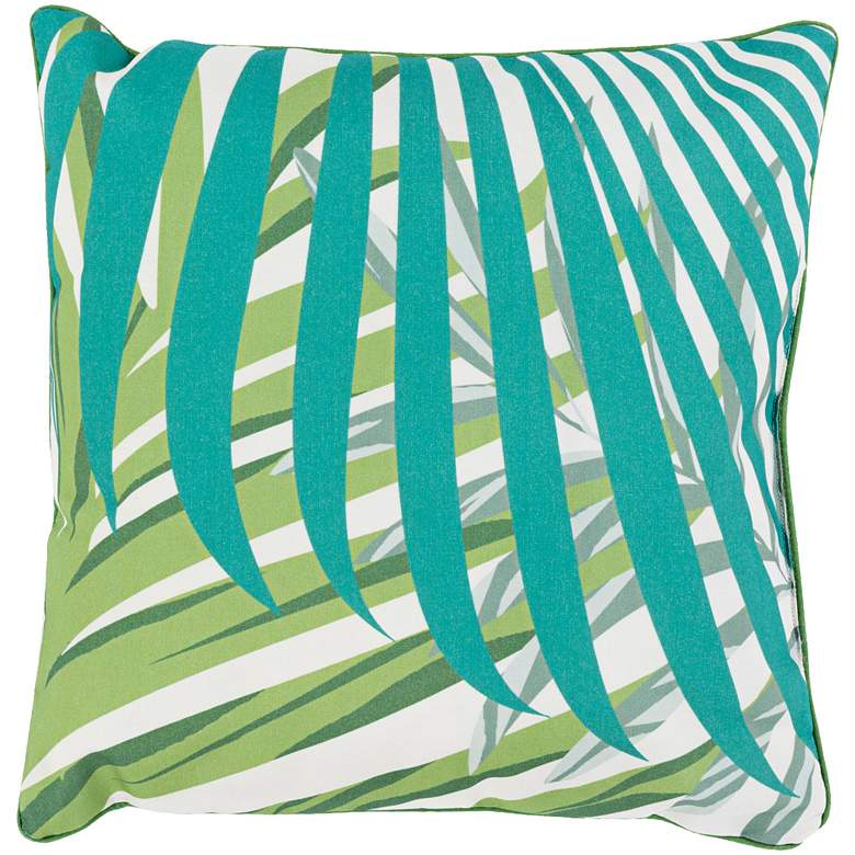 """Surya Ulani Green Leaves 16"""" Square Indoor-Outdoor Pillow"""
