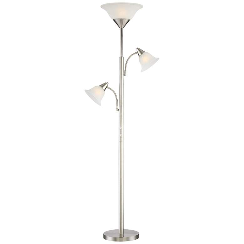 Jordan Brushed Nickel Tree Torchiere 3 Light Floor Lamp