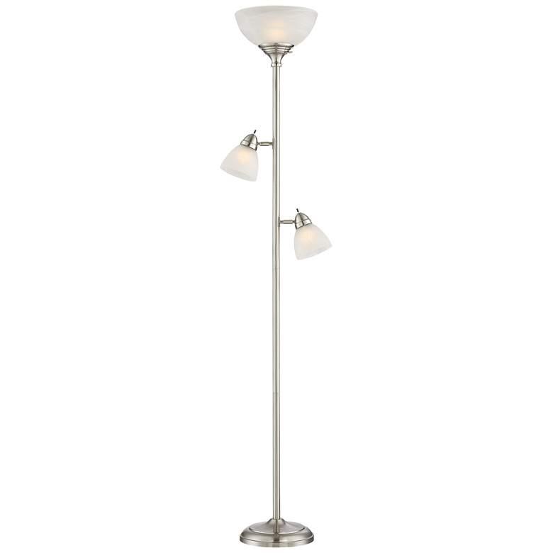 Ellery Brushed Nickel Tree Torchiere 3 Light Floor Lamp
