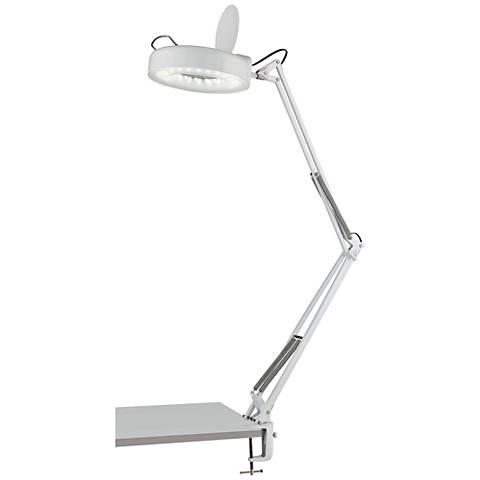 Lite Source LED Magnify-Lite White Clamp Desk Lamp