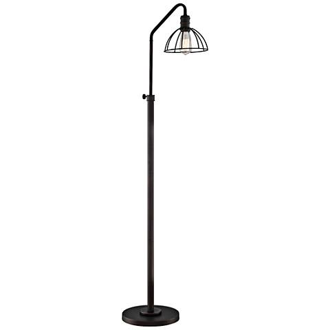 Lite Source Gaius Bronze Industrial Cage Floor Lamp