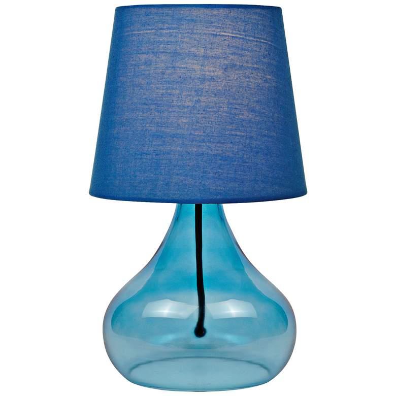 "Lite Source 14""H Blue Glass Jar Accent Table Lamp"