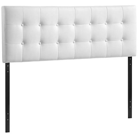 Emily White Button-Tufted Leather Headboard