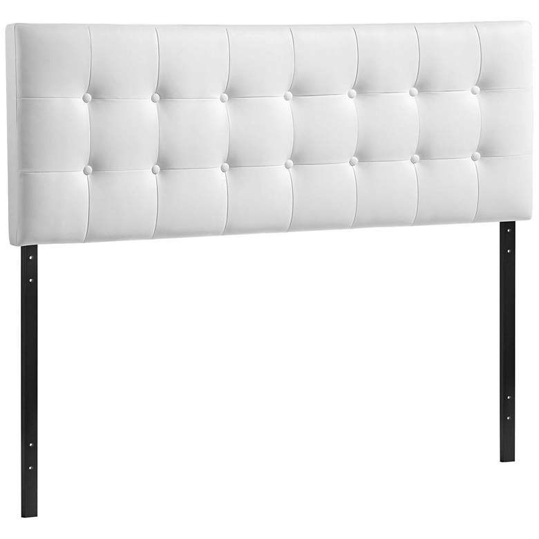 Emily White Button-Tufted Queen Leather Headboard