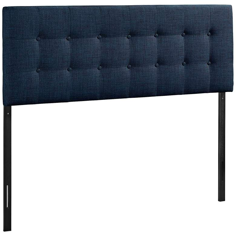 Emily Navy Button-Tufted Queen Fabric Headboard