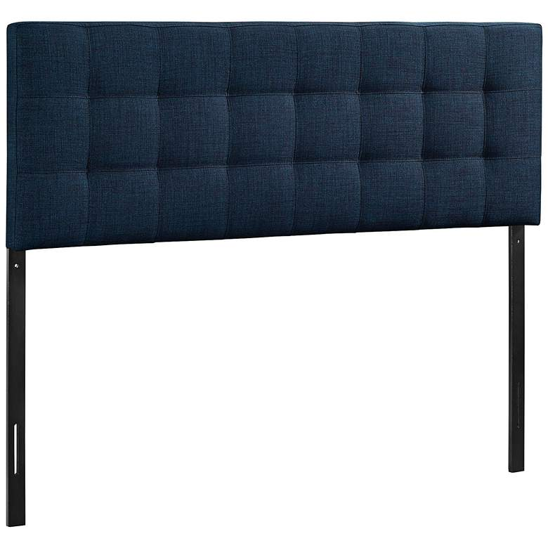 Lily Navy Fabric Checkerboard-Tufted Queen Headboard