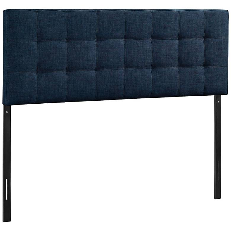 Lily Navy Fabric Checkerboard-Tufted Headboard