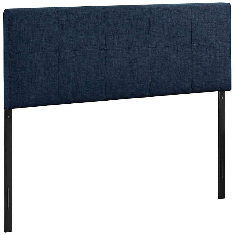 Oliver Navy 10-Square Stitched Queen Fabric Headboard