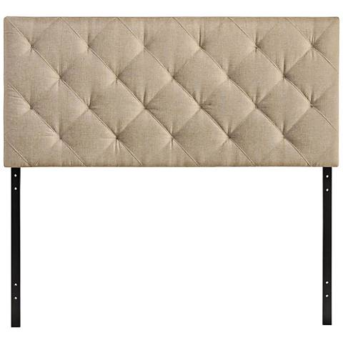 Theodore Beige Diamond-Tufted Fabric Headboard