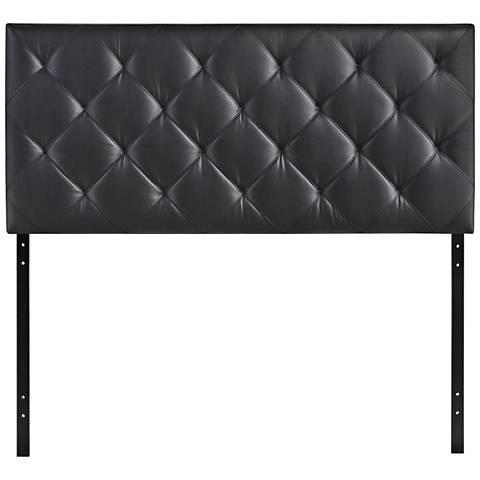 Theodore Black Faux Leather Tufted Fabric Headboard