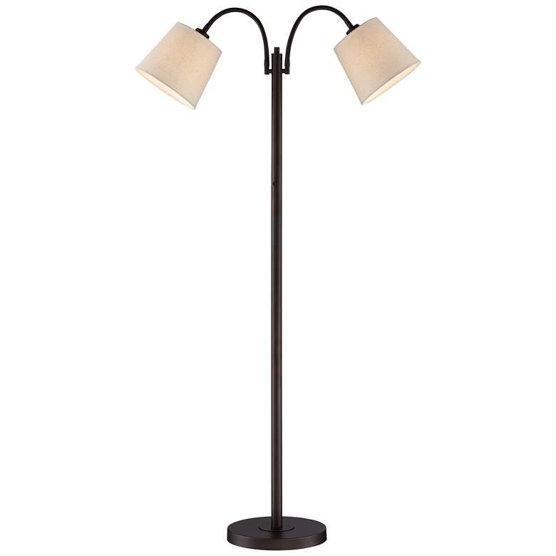 Seneca Bronze Twin Arm Gooseneck Floor Lamp
