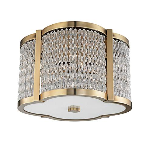 "Hudson Valley Ballston 16"" Wide Aged Brass Ceiling Light"